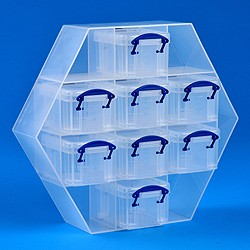 Small hexagonal organiser with 8x0.14 litre Really Useful Boxes