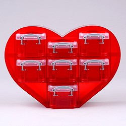 Small heart organiser with 1x0.07 + 6x0.14 litre Really Useful Boxes