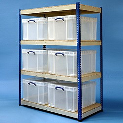 145 litre industrial racking with 6x145 litre Really Useful Boxes