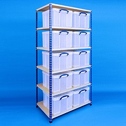 2 bay industrial racking with 10x42 litre Really Useful Boxes