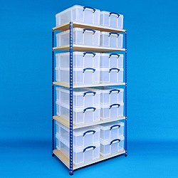 2 bay industrial racking with 16x50 litre Really Useful Boxes