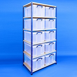 2 bay industrial racking with 10x64 litre Really Useful Boxes