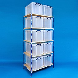 2 bay industrial racking with 10x84 litre Really Useful Boxes
