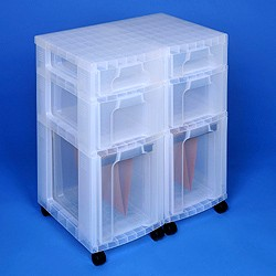 Storage tower double with 2x7 + 2x12 + 2x25 litre Really Useful Drawers