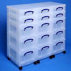 Storage tower triple with 6x4 + 9x9 litre Really Useful Boxes