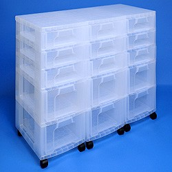 Storage tower triple with 9x7 + 6x12 litre Really Useful Drawers