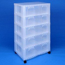 Storage tower double with 5x30 litre Really Useful Drawers