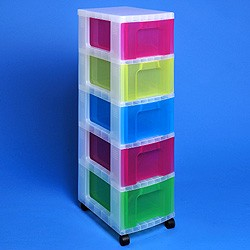 Storage tower with 5x12 litre Really Useful Drawers