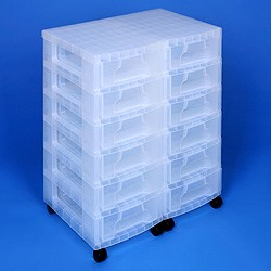 Storage tower double with 12x7 litre Really Useful Drawers