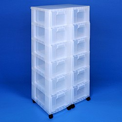 Storage tower double with 12x12 litre Really Useful Drawers