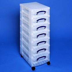 Storage tower with 7x4 litre Really Useful Boxes