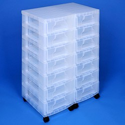 Storage tower double with 14x7 litre Really Useful Drawers